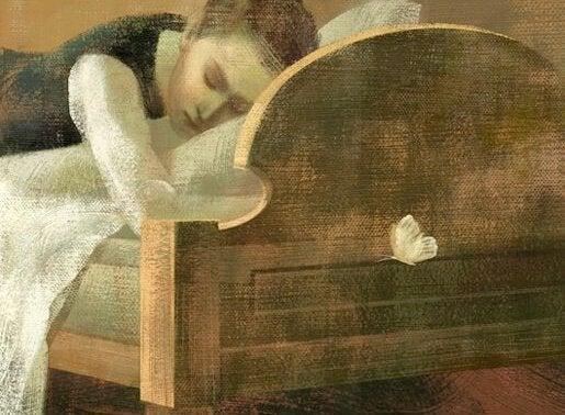 Mädchen liegt auf einem Bett