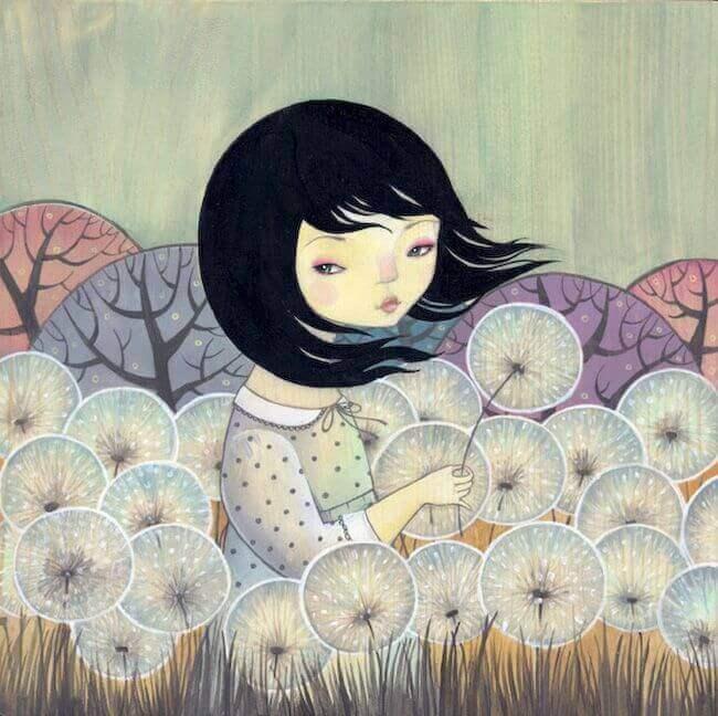 Mädchen mit Pusteblumen