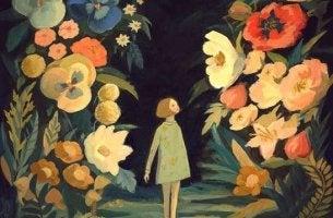 Optimistische Menschen - Mädchen im Blumenwald