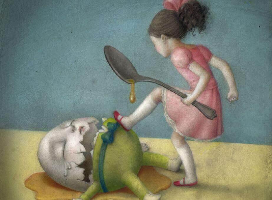 Frustessen - Mädchen ist auf ein Ei wütend