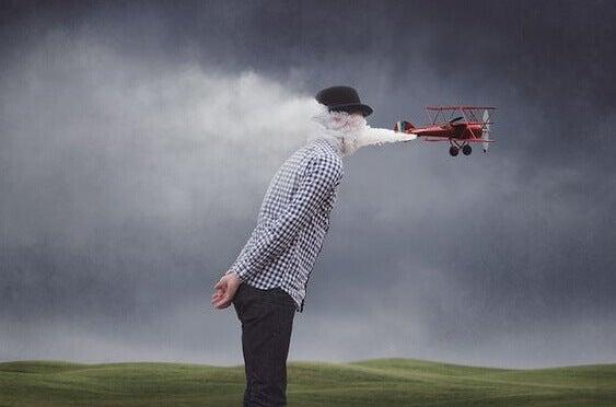 Flugzeug vernebelt einem Mann die Sicht