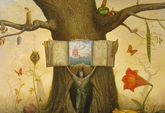 Mann steht in einem Baum und öffnet ihn