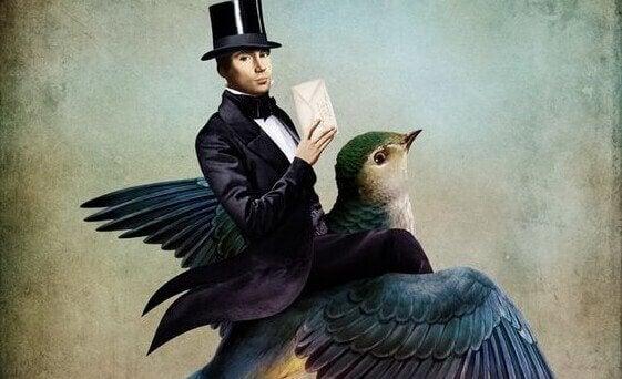 Mann mit Vogel und Brief