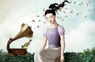 Stillschweigen bewahren - Frau hört am Grammophon