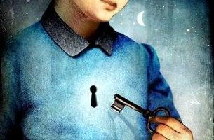 Person mit Schlüsselloch in der Brust