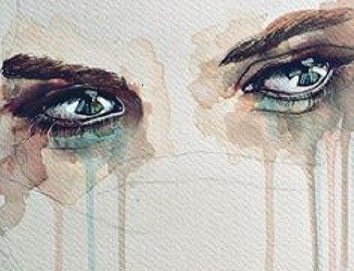 Traurige, weinende Augen