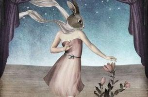 Emotional unreife Menschen - Frau mit Hasenkopf unter Sternenhimmel