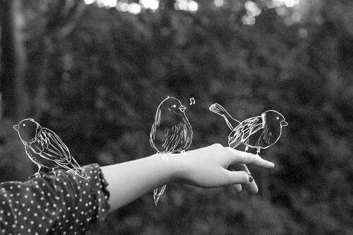 Gezeichnete Vögel auf einer Hand