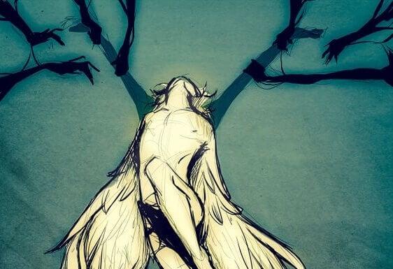 Zeichnung von einem Mann mit Flügeln