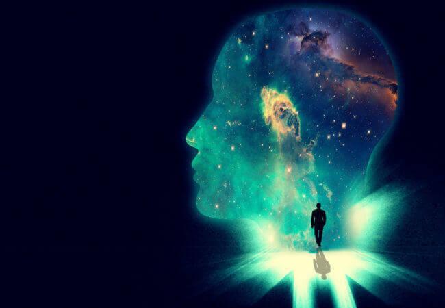 Universum im Kopf eines Menschen