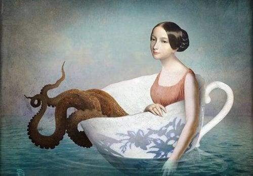 Eine Frau mit Oktopus