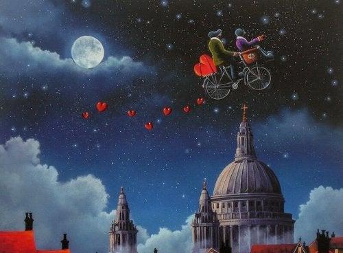 Am Himmel Fahrrad fahren
