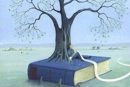 Baum, der auf einem Buch wächst