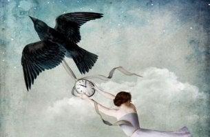 Vogel, der eine Uhr und eine Frau trägt