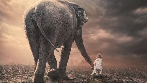 Kind mit Elefant