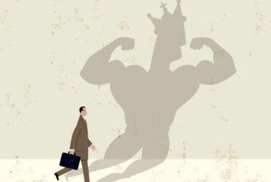 Ego eines Mannes als Schatten