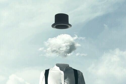 kopfloser Mann mit Hut