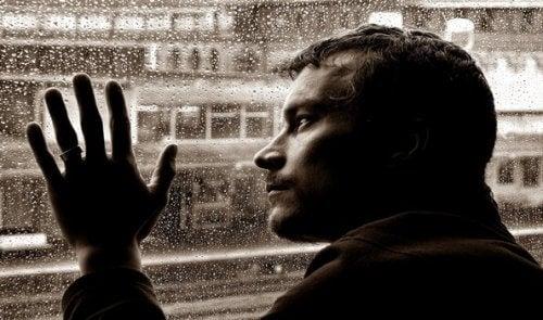 Intelligenter Mann schaut aus dem Fenster