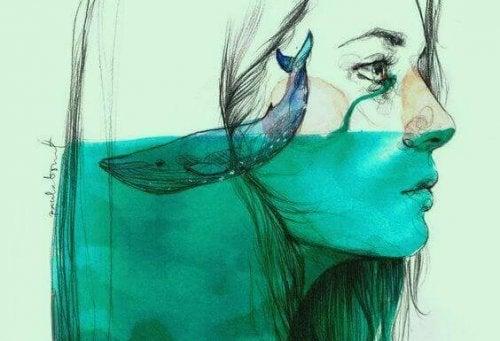 Frau, deren Tränen das Wasser steigen lässt