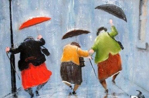 tanzende Senioren im Regen