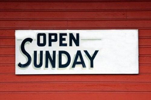 """""""Open Sunday"""" - Schild"""