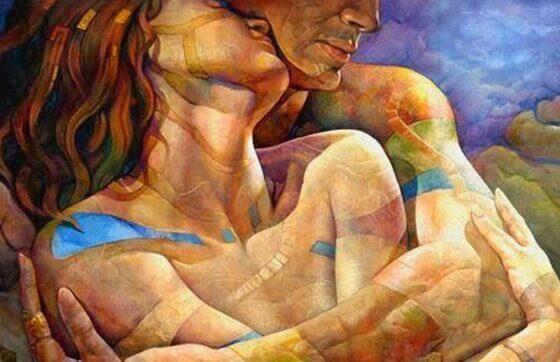 Nacktes Paare liebt sich.