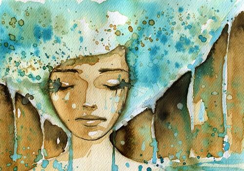 Traurige Frau in Wasserfarben