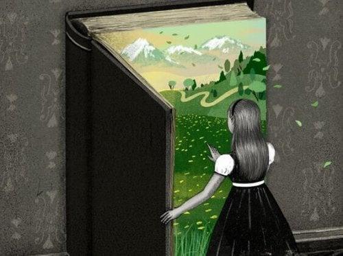 Frau betritt ihr eigenes Buch