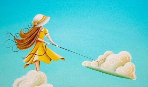 Frau, die eine Wolke mit einem Lasso einfängt