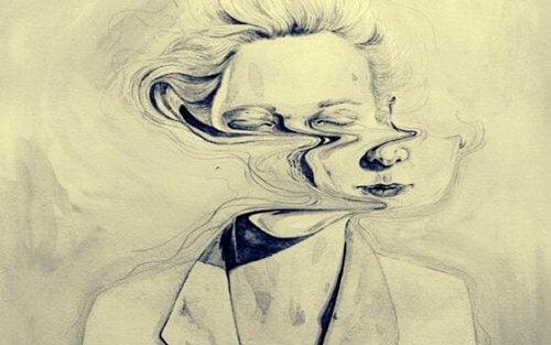 Frau mit einem verzerrten Gesicht
