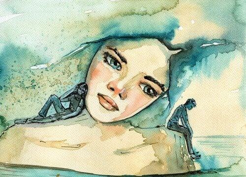 Ein trauriges Bild einer Frau haengt an der Wand.