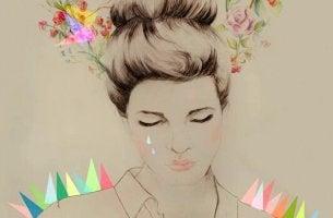 Die unmögliche Liebe vergessen - Frau inmitten von Farbklecksen