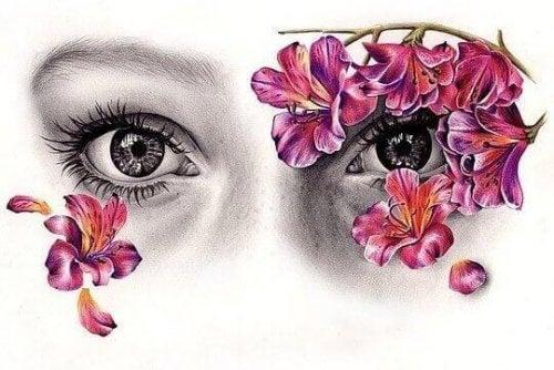 Augen mit Blumen