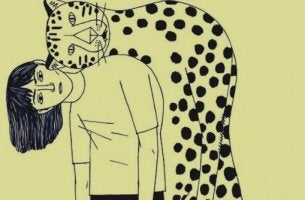 Toxische Freundschaft? - Tiger lehnt auf einer Frau