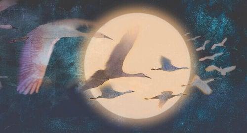 Fliegende Gänse im Mondlicht