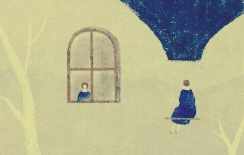 Frau am Fenster und Frau auf Schaukel