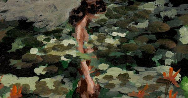 Eine Frau vor einem Teich mit Seerosen
