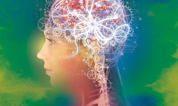 Positive Psychologie - Frau mit Getriebe im Kopf