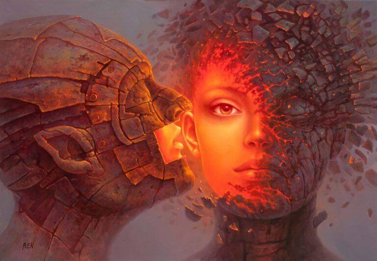 Frau wird von einem Mann geküsst und Masken werden gesprengt