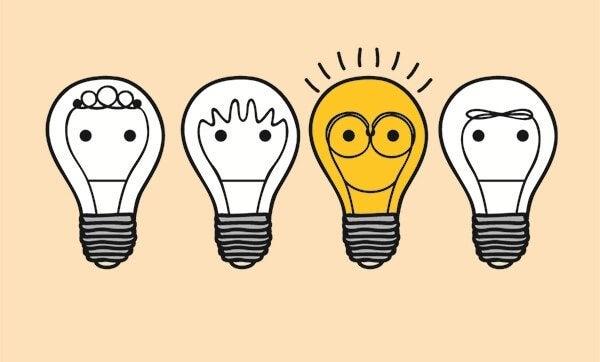 Gruppe von Glühbirnen unterschiedlicher Laune