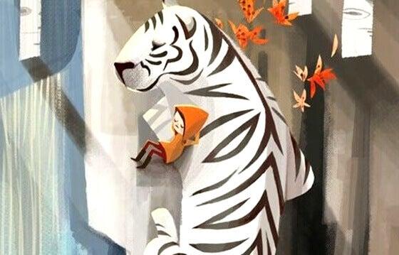 Kind lehnt an weißem Tiger
