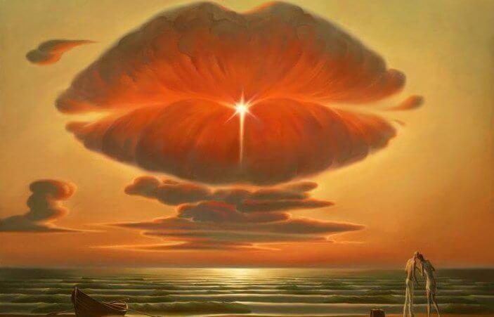 Wolken bilden Kussmund