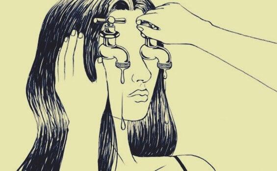 Mädchen mit Wasserhähnen statt Augen