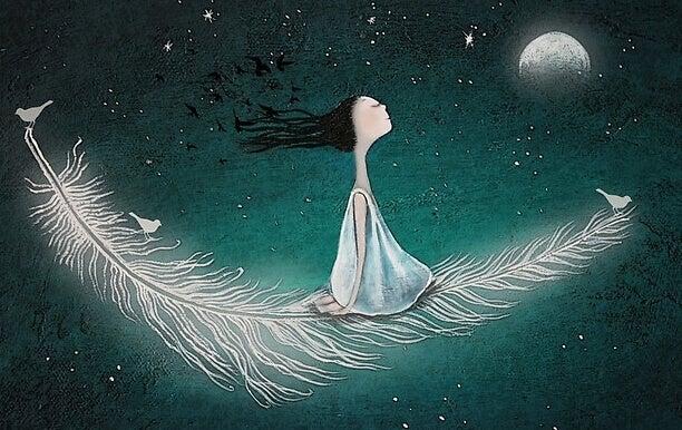 Mädchen fliegt auf einer Feder durch das Weltall