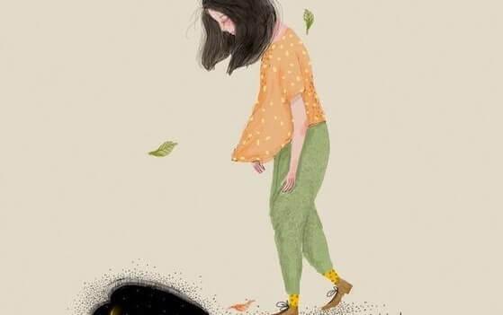 Trauriges Mädchen läuft im Wind