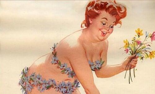 Blumen pflückende Frau