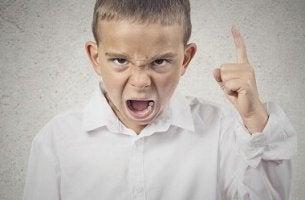 Kleine Kaiser - Kind mit erhobenem Finger macht seinem Ärger Luft
