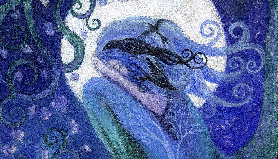 Zeichnung einer Frau, die sich das Gesicht verdeckt, in blauer Farbe