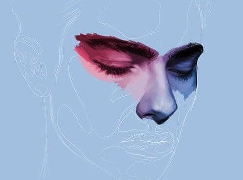 Depressive Frau mit blauem Gesicht