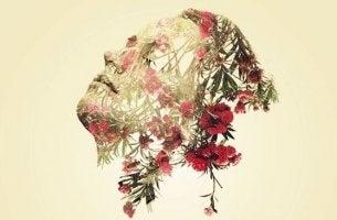 Emotionale Weisheit - Gesicht und Haar aus Blumen